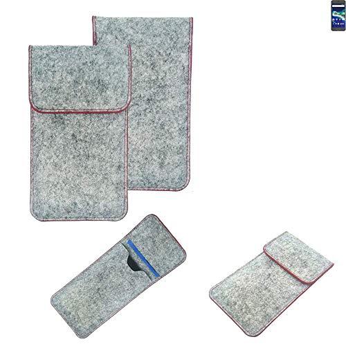 K-S-Trade® Handy Schutz Hülle Für General Mobile GM 6 Schutzhülle Handyhülle Filztasche Pouch Tasche Hülle Sleeve Filzhülle Hellgrau Roter Rand
