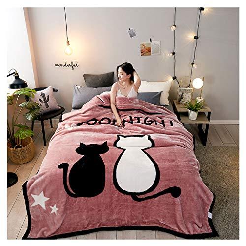 Couverture Double Épaississez 3 kg Chaud et Confortable Nap Microfibre Hiver Peut Pas Se permettre la Balle Little (Color : Cat)