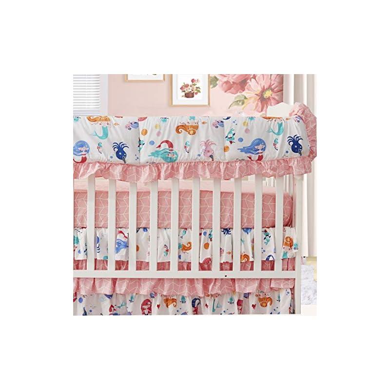 crib bedding and baby bedding brandream baby girl crib rail cover, mermaid long front crib rail teething guard, pink ocean animal nursery bedding decor 100% cotton