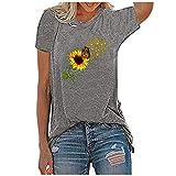 Camiseta de verano de manga corta para mujer, camiseta de manga corta, blusa tipo túnica, gris, L