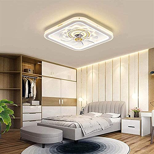 Fans de techo con lámparas LED 60W Lámparas de alojamiento de metal regulables silenciosos Luces de techo para sala de estar Habitación para niños