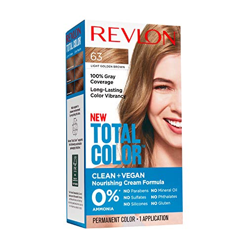 Revlon Total Color Permanent Hair Color, Clean and Vegan, 100% Gray Coverage Hair Dye, 63 Light Golden Brown, 3.5 oz