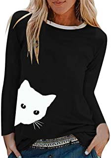 Womens T-Shirts Round Neck Long Sleeve Basic Casual Tops Autumn Spring Daily Wear Lightweight Comfortable Blouses Cat Prin...