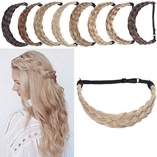 SEGO Postiche Femme Synthetique Bandeau Tressé Serre-Têtes Accessoire Headband Ruban Cheveux Élastique [5 Brins Largeur: 3.8cm] Pièce Stretch Twist Fibres Flexible