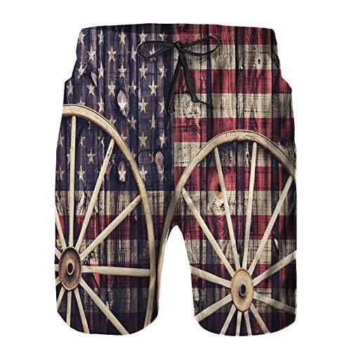 Bañador De para Hombre Pantalones Playa Shorts,Carro Antiguo con Ruedas Bandera Americana en Colores Retro Vintage New World Print,Secado Rápido Ligero Baño Cortos XXL