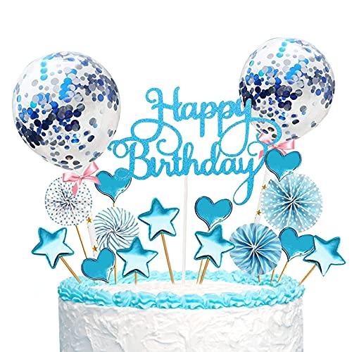 HongJing Cake Topper,17 Stücke Tortendeko,Glitter Cake Topper Kuchendekoration,Cupcake Topper mit Sternen Liebe Konfetti-Luftballons und Papierfächer,Torte für Geburtstagsfeier Dekoration (Blau) …
