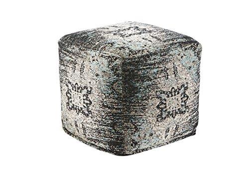 Kobolo Orientalischer Sitzpouf Pouf Sitzwüfel Hocker Aqua aus indischem Webstoff