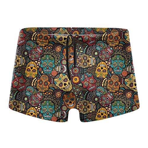 TKStin Men's Swim Briefs Mexican Sugar Skulls Low Waist Swimwear Swimsuit Swimming Short