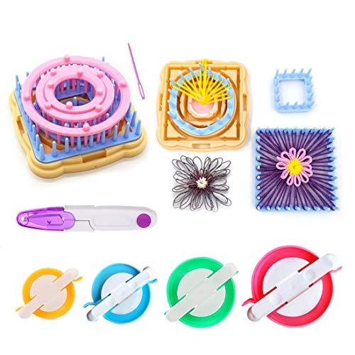 Telar de flores, juego de telares de tejer de 9 piezas Kits de artesanía de hilo de lana DIY Herramienta para calcetines Guantes Sombreros +4pcs pom pom maker + 1pcs tijeras(B)