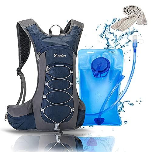BIKLUS Mochila de hidratación con 2 L, táctica manguera, perfecta para senderismo, ciclismo, correr, caminar, escalada y montañismo, mochila agua sistema hombres mujeres (azul)
