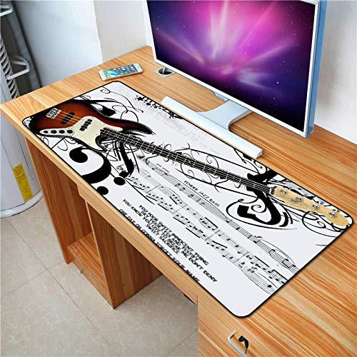 Azbza alfombrillas para raton , alfombrilla raton xxl Instrumento de guitarra de partitura negra ( 700 x 300 x 3 mm ) - Alfombrilla de goma antideslizante para ratón , muy grande , para juegos , con d