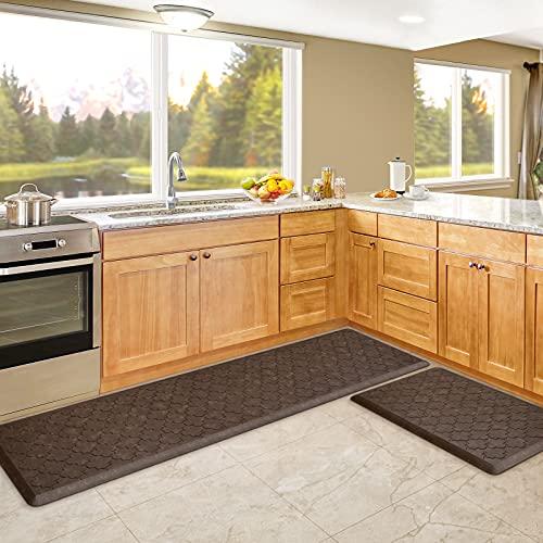 """KMAT Kitchen Mat [2 PCS] Cushion Anti Fatigue Comfort Mat, Non Slip Memory Foam Kitchen Mats for Floor,Waterproof Kitchen Rugs Standing Desk Mat Floor Mats for House, Sink, Office (17""""x28""""+17""""x59"""")"""