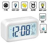 Réveil numérique,lumière intelligente douce, pour enfants, adolescents, jeunes,Rétroéclairage LED, écran LCD numérique Réveil électronique avec date/capteur de température/heure/snooze JS501 blanc