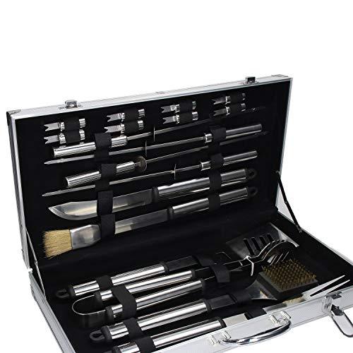 elasto form XXL 21-teilig Edelstahl Grillbesteck im Koffer | Besteck für Grill aus rostfreiem Edelstahl | Profi-Grillbesteck im Grillbesteckkoffer aus Aluminium | Perfektes Ostergeschenk für Männer
