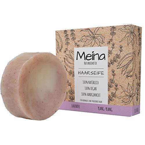 Meina - Haarseife Naturkosmetik für trockenes Haar - Bio Shampoo Bar mit Lavendel und Ylang-Ylang (1 x 80 g) palmölfrei, vegan festes Shampoo, Shampooseife