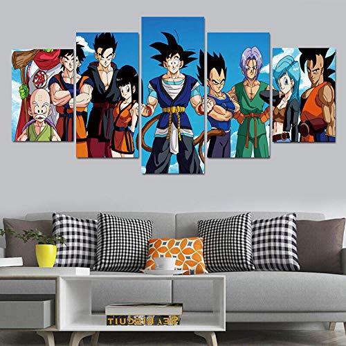 Impresiones sobre Lienzo 5 Piezas Dragon Ball Z Goku Anime Póster Cuadro de Arte de Pared Modular Decoración Sala de Estar Tamaño Sin Marco 3
