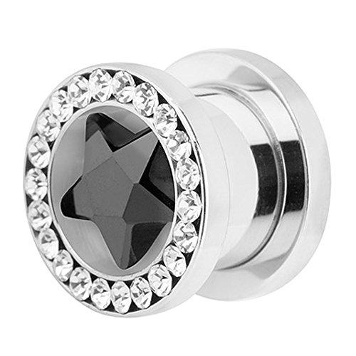 Piercingfaktor Flesh Tunnel Ohr Piercing Plug Ohrpiercing Schraub Kristall Stern XXL 12mm Schwarz
