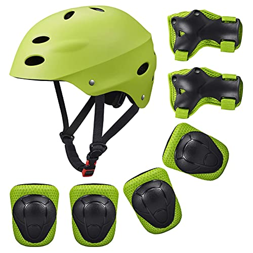 Kids Protective Gear, Kid Bike Helmet Knee Pads and Elbow Pads Set with Wrist Guard Skateboard Accessories for Rollerblading Skateboard Cycling Skating Bike Scooter.
