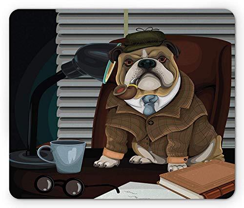Englische Bulldogge Mauspad, traditioneller englischer Detektivhund mit einem Rohr und Hut Sherlock Holmes Bild, Rechteck rutschfestes Gummi-Mauspad, Standardgröße, hellbraun