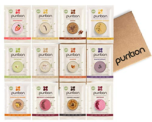 Purition Vegan Trial Box | Premium Dairy Free High Protein Powder for Keto Shakes and Smoothies with Only Natural Ingredients for Weight Loss | 12 x 40g sachets