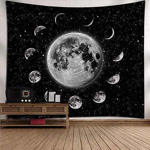 Wandteppich, schwarzer Sternenhimmel, Kunst, 3D-Druck, Mondfächer, Fantasie, Weltraum, riesige Galaxie, Nachthimmel, Polyester, Dekoration für Picknick, Schlafsaal, Wohnzimmer, Schlafzimmer