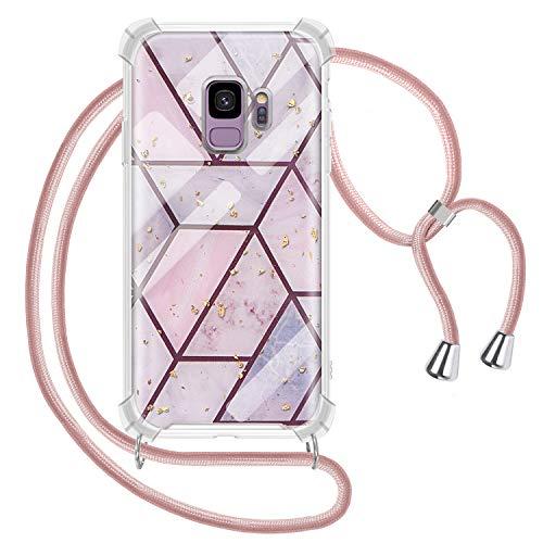 Genrics Handykette Hülle für Samsung Galaxy S9, Marmor Glitzer Necklace Hülle mit Kordel Transparent Silikon Handyhülle mit Kordel zum Umhängen Schutzhülle mit Band in Roségold