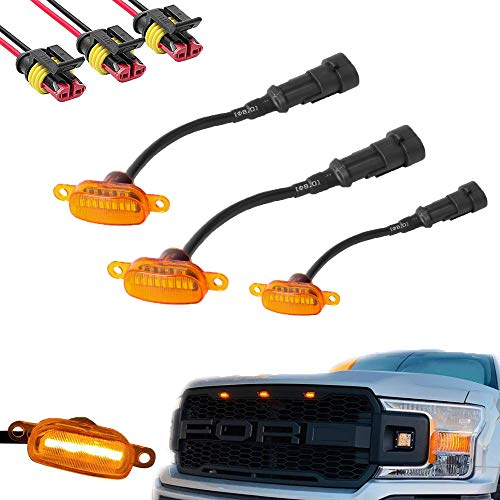 BASIKER Auto Front Grille Lights for 2004-2019 Ford F150 F250 F350 Raptor External LED Decoration | 3 Pack Amber Lens