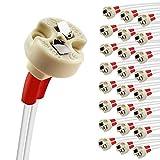DiCUNO 24pcs bi-pin Base, G4, G6,35, Gy6,35, GX5.3 MR16, GZ4 MR11, halógena incandescente LED Socket Titular de la lámpara de cuerpo de cerámica (2 unidades)