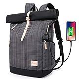 Baulanna Laptop Rucksack Tasche Daypack Diebstahlsicherung Tagesrucksack Daypack Mode Rucksack Roll Top Rucksack mit USB fur 15.6 Zoll Notebook Damen Herren (Gitter Grau)
