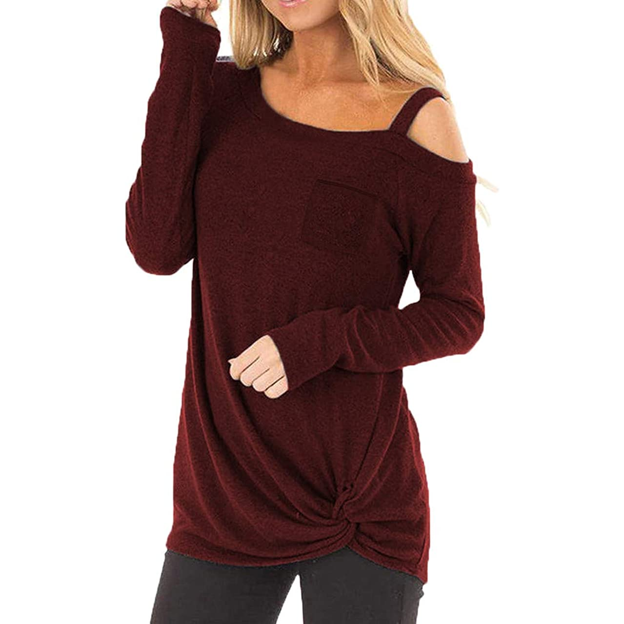 Fashion Loose Top Womens Casual Soft Long Sleeves O Neck Knot Side Twist Blouse Top T-Shirt