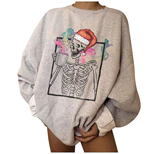 SOMESUN Langarmshirt Damen T-Shirt Langarm Weihnachtsdruck Bluse Casual Locker...