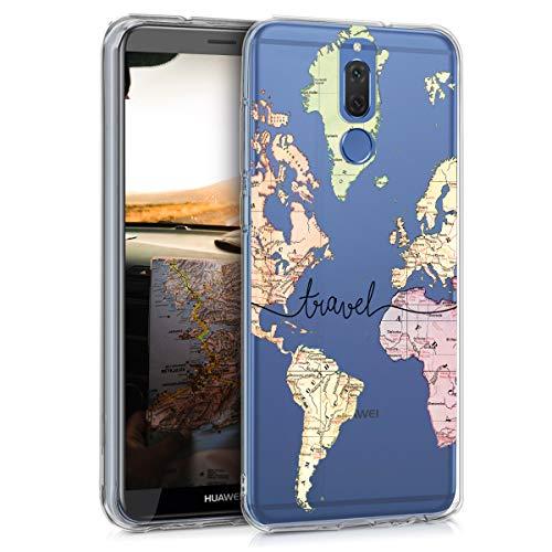 kwmobile Cover Compatibile con Huawei Mate 10 Lite - Custodia in Silicone TPU - Backcover Protettiva Cellulare Mappa del Mondo Nero/Multicolore/Trasparente