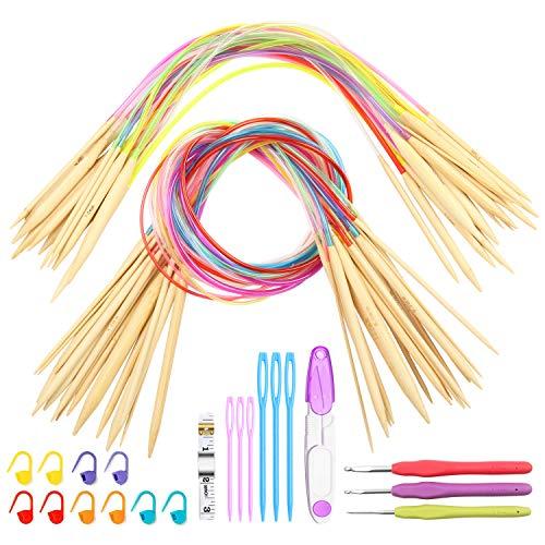 Juego de 67 agujas de tejer circulares de bambú de doble punta de 2 mm a 10 mm con marcadores de puntada, cinta métrica, tijeras y agujas de coser de plástico.