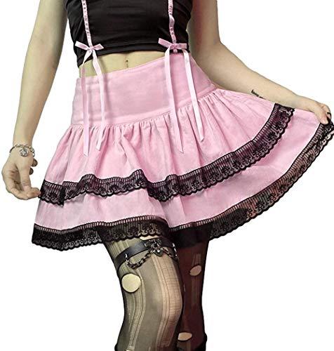 AAQQ Falda con pliegues gótica rosa a cuadros de talle alto, Y2K Plaid plisada, falda escolar, moda gótica, regalo para novias C _ S.
