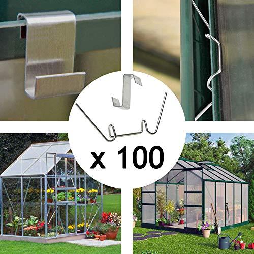 Spares2go Gewächshaus-Verglasung mit Klemmen und Z-Clips, 100 Stück