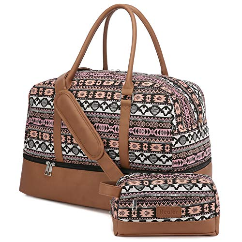 Realer Canvas Weekender Bag, Womens Overnight Bag Carryon Weekend Travel Duffel Tote with Shoe Compartment with Toiletry Bag Flight Approved(Large Multi)