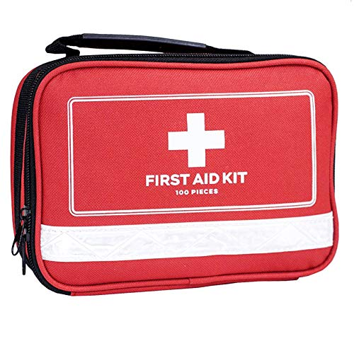 First Aid Kit - 100 Pieces - Includes Emergency Foil Blanket, Bandage for Home, Camping, Hiking, Backpacking, Travel, Vehicle, Outdoors - Emergency & Medical Supplies