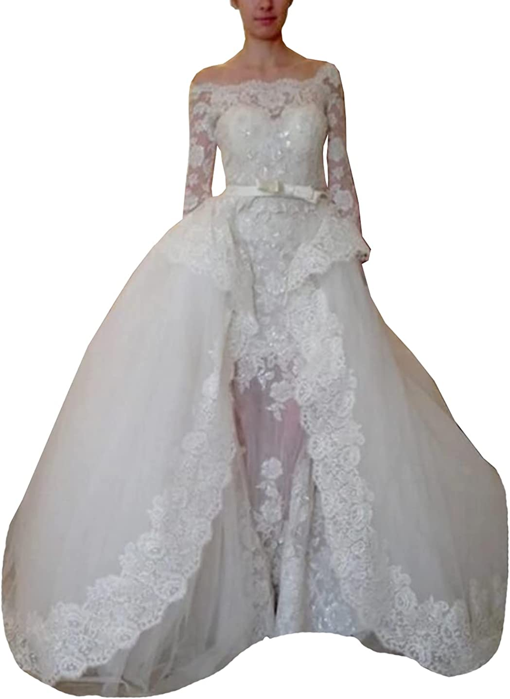 Melisa Long Sleeves Lace Sequins Corset Bridal Gowns Detachable Train Mermaid Wedding Dresses for Bride
