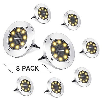 Joomer Solar Ground Lights, 8 Pack 8 LED Solar Pathway Lights Waterproof In-Ground Outdoor Landscape Lighting Solar Disk Lights for Patio Pathway Lawn Yard Driveway Walkway (Warm White)