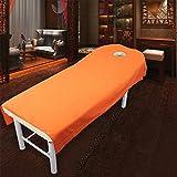 SODIAL Naranja 190 x 80cm Sabana con Agujero liso de cama de belleza exfoliante suave Sabana de masaje