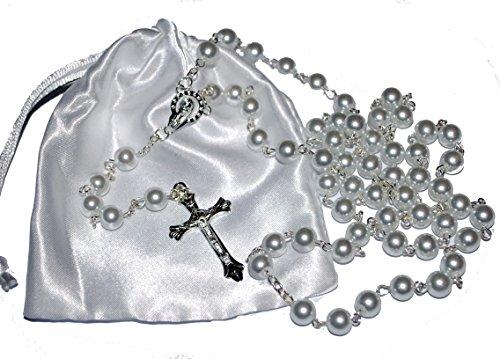Amelia Mae Erstkommunion Rosenkranz, Geschenk zurErstkommunion, Geschenk für Jungen & Mädchen weiß
