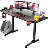 Vitesse 55 Inch Gaming Desk Gaming Table, T-Shaped Home Office PC Computer Desk with Mouse Pad, Ergonomic Gaming Workstation with Carbon Fiber Surface, Side Shelf, Cup Holder and Headphone Hook