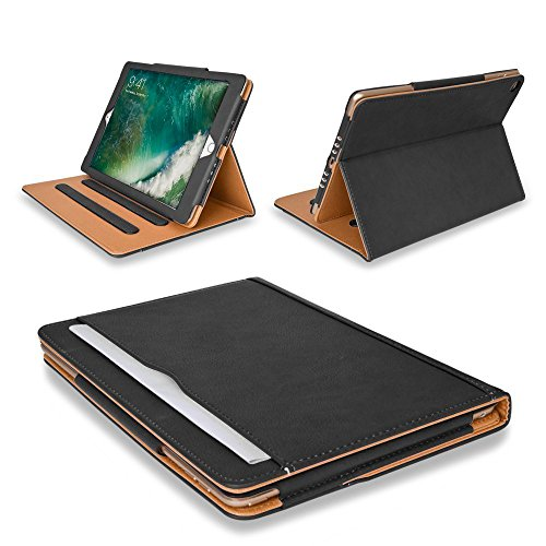 MOFRED Black & Tan Apple iPad 10.5 inch (2017 & 2019 Versions) Leather Case with Stylus Loop Holder