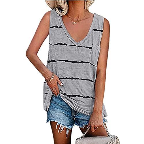 Camisetas Sin Mangas Mujer Verano Sexy De Gran Tamaño Cómodo Casual con Cuello En V Moda A Rayas Camisetas Mujer con Bolsillos Elegantes Sueltos Mujer Tops E-Grey 5XL