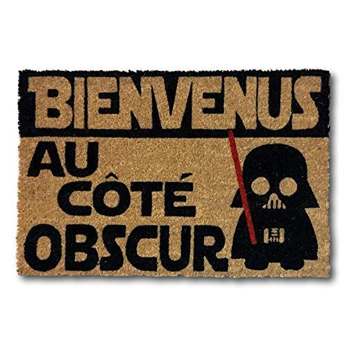 koko doormats Felpudo Entrada para casa y Jardin, en francés Bienvenus a Còté Obscur, felpudos Entrada casa Originales y Divertidos, 40x60x1.5 cm, Coco con Base Antideslizante de PVC