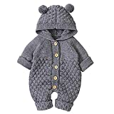 ACAMPTAR Bebé ReciéN Nacido Oreja con Capucha Mameluco de Punto Mono para la Nieve Monos para Ni?Os Jumpsuit Ni?Os Ropa Linda para Ni?Os Peque?Os - 90Cm