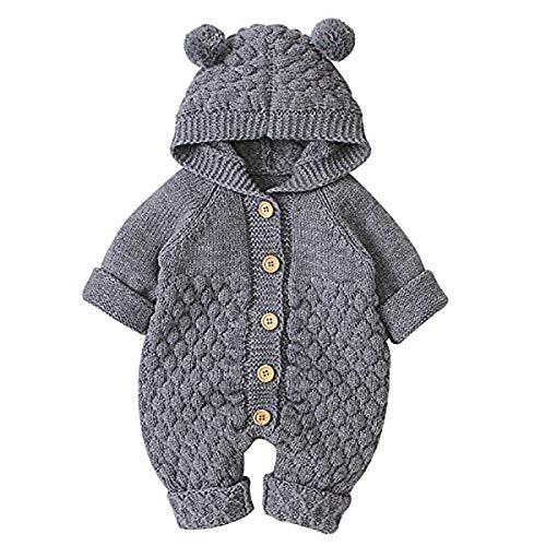 cherrypop Mono de punto con capucha para bebé recién nacido, mono para niños pequeños, mono para niños, ropa linda para niños - 73 cm