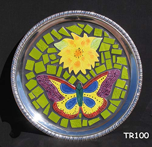 Silver Mosaic Tray Handmade Tiles Look Nice on the table in your Home TR100