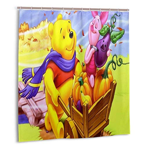 Cartoons Winnie The Pooh Duschvorhang Lustige wasserdichte Duschvorhänge Badvorhang Bad Set mit 12 Haken für Home Badezimmer Dekoration 66x72in