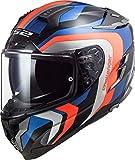 LS2 - Casco integral para moto, Challenger Galactic, azul naranja, L